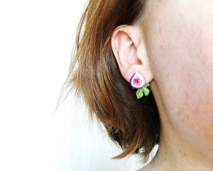 Fig Statement Earrings with Leaf Ear Jackets