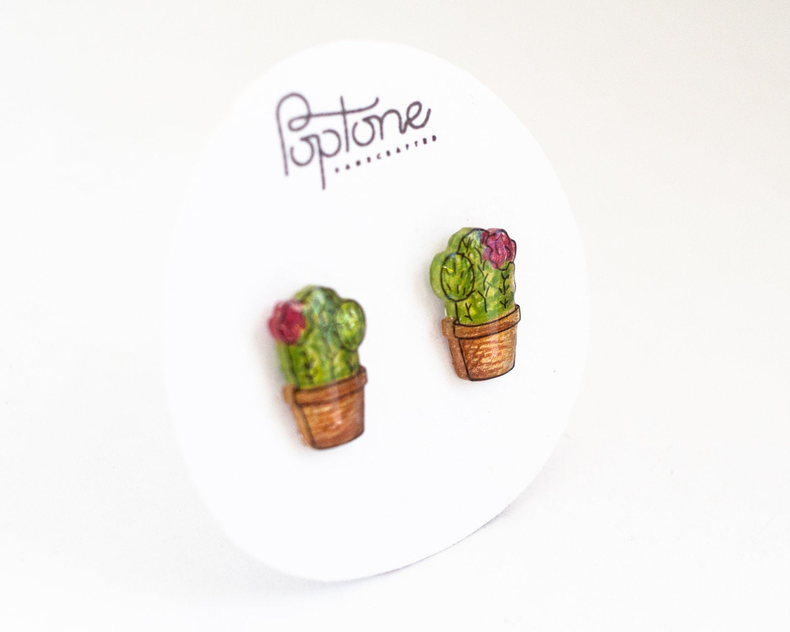 Potted Flowering Cactus Stud Earrings