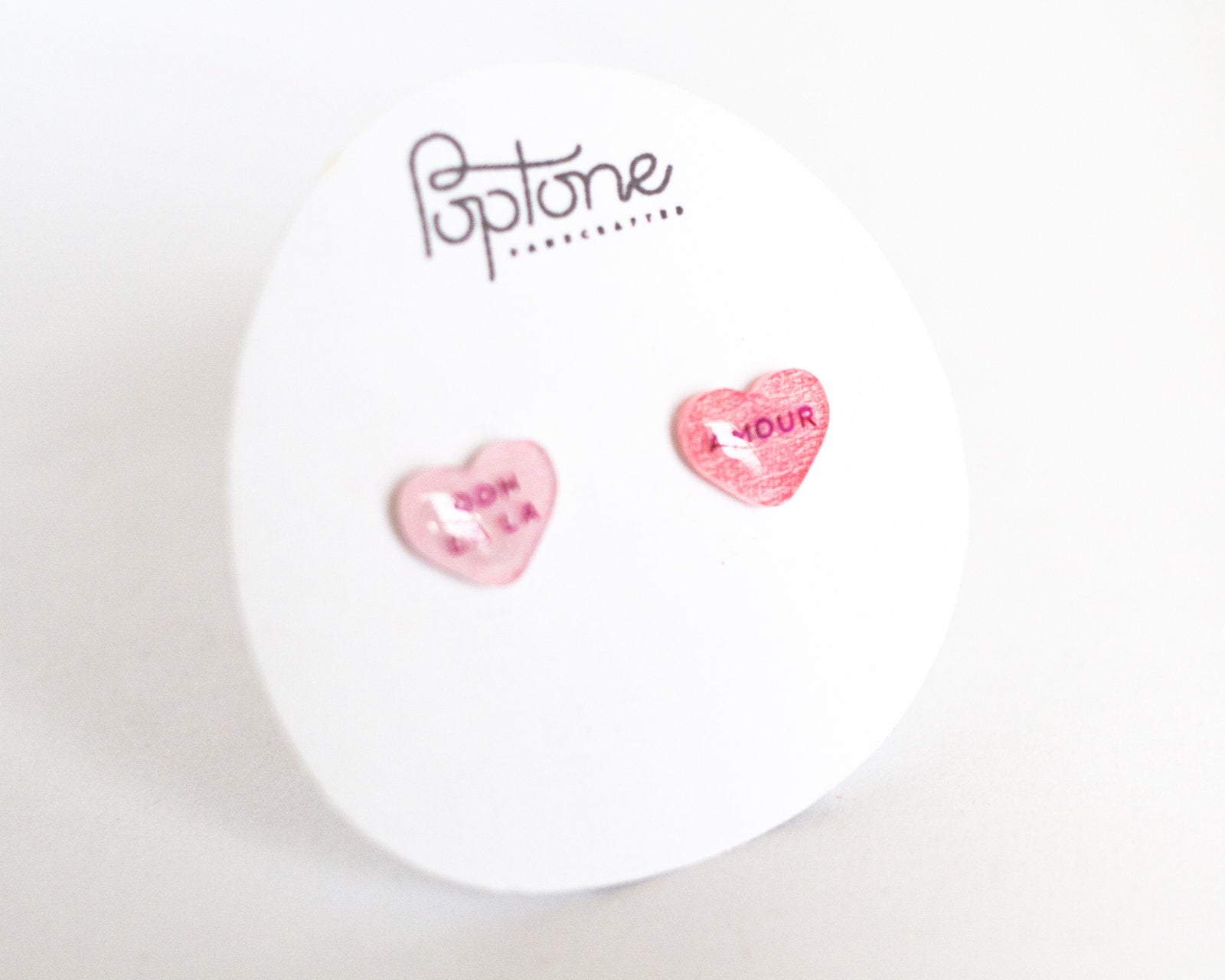 French Candy Valentine Heart Stud Earrings - ooh la la + amour