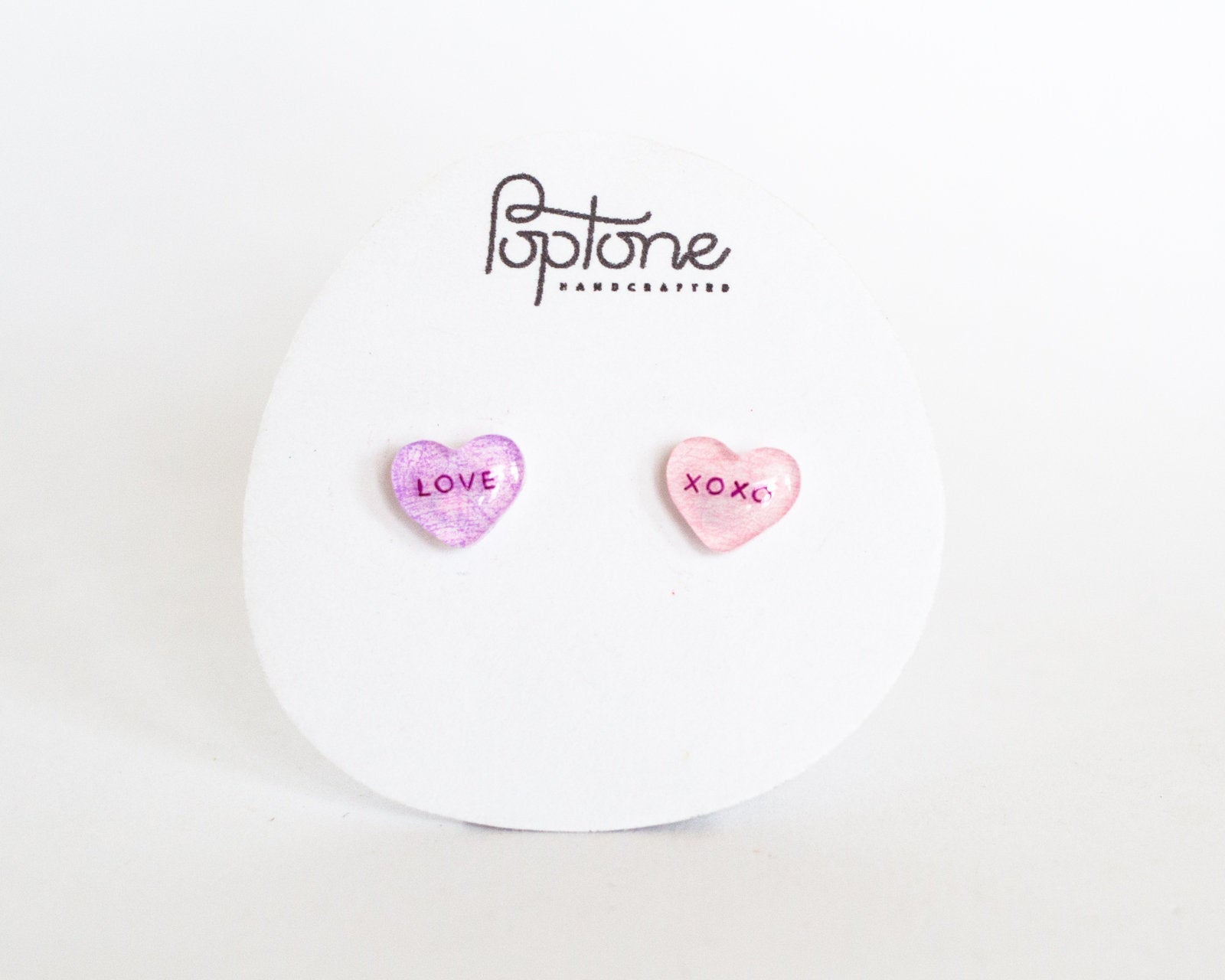 Valentine Candy Heart Stud Earrings, love + oxox