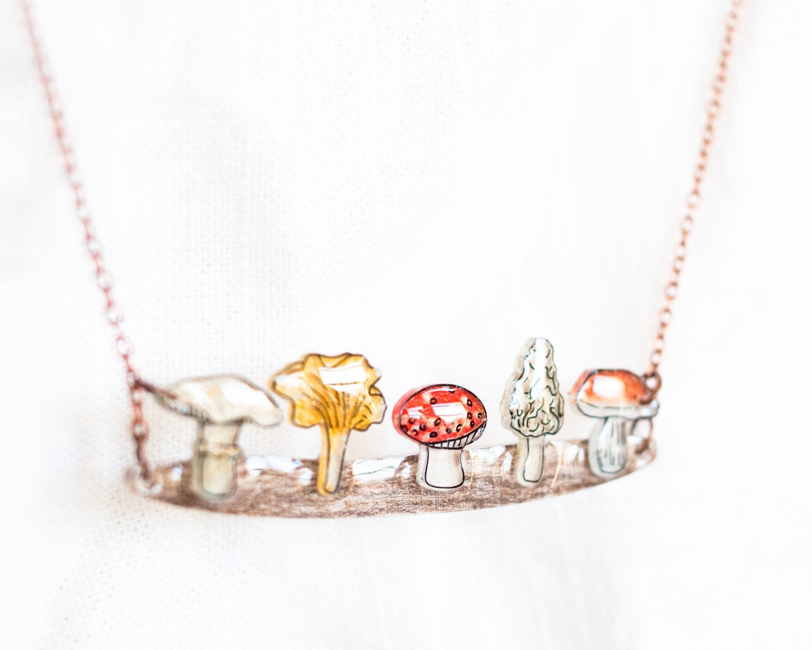 Woodland Mushrooms Statement Necklace
