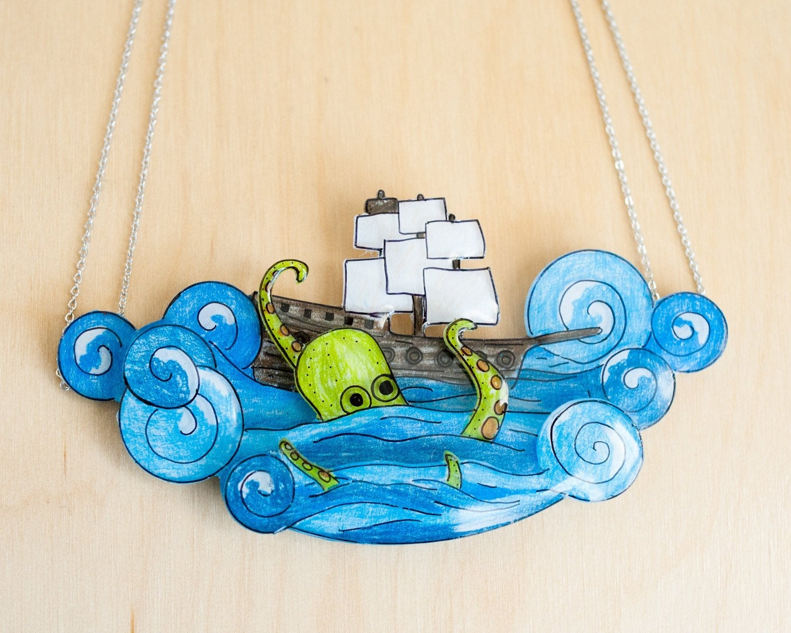 Kraken Pirate Ship Necklace