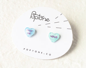 YOLO + Text Me Candy Heart Valentine Stud Earrings