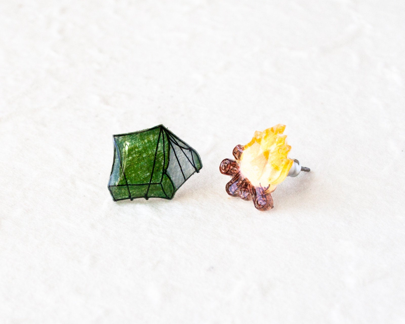 Tent and Campfire Camping Stud Earring Set
