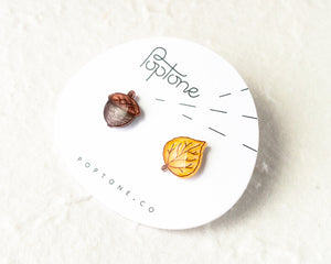 Aspen Leaf and Acorn Stud Earrings