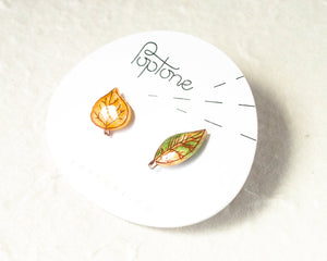 Autumn Leaf Mismatched Stud Earrings