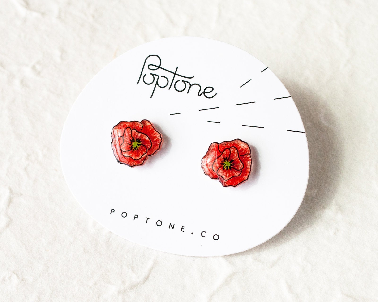 Red Poppy Flower Stud Earrings