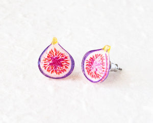 Fig Fruit Stud Earrings