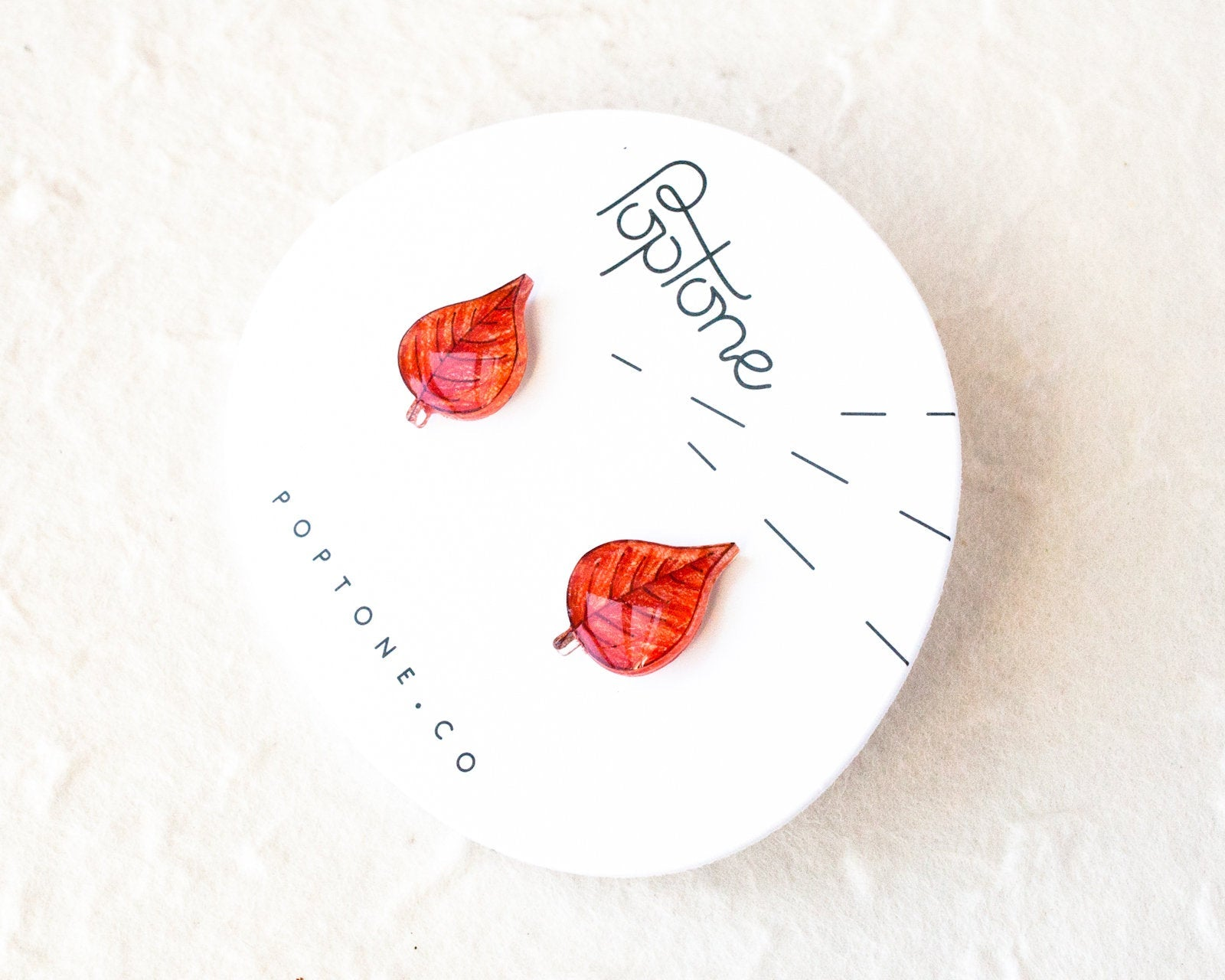 Red Leaf Stud Earrings