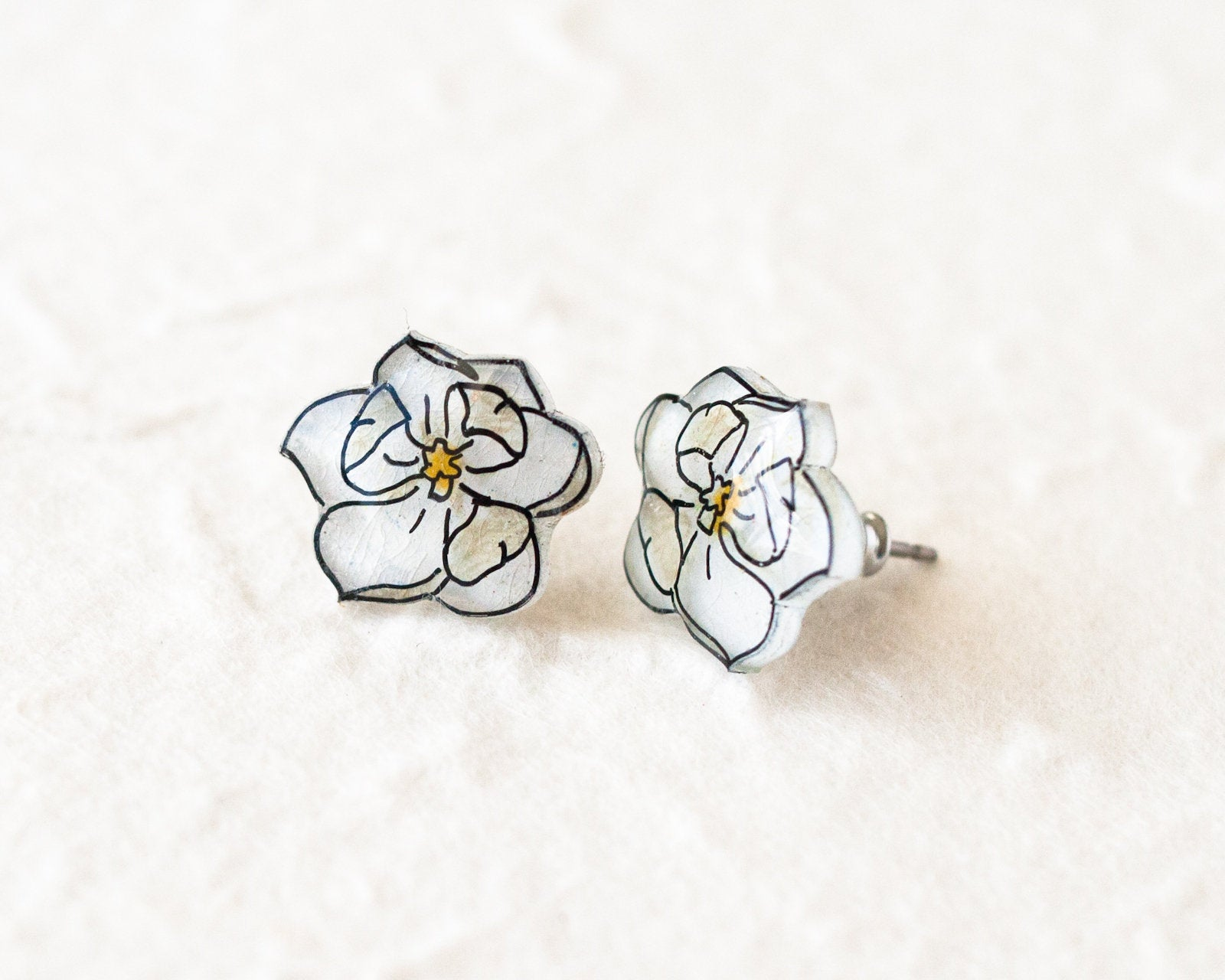 White Magnolia Flower Stud Earrings