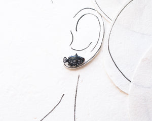 Black Fish Stud Earrings
