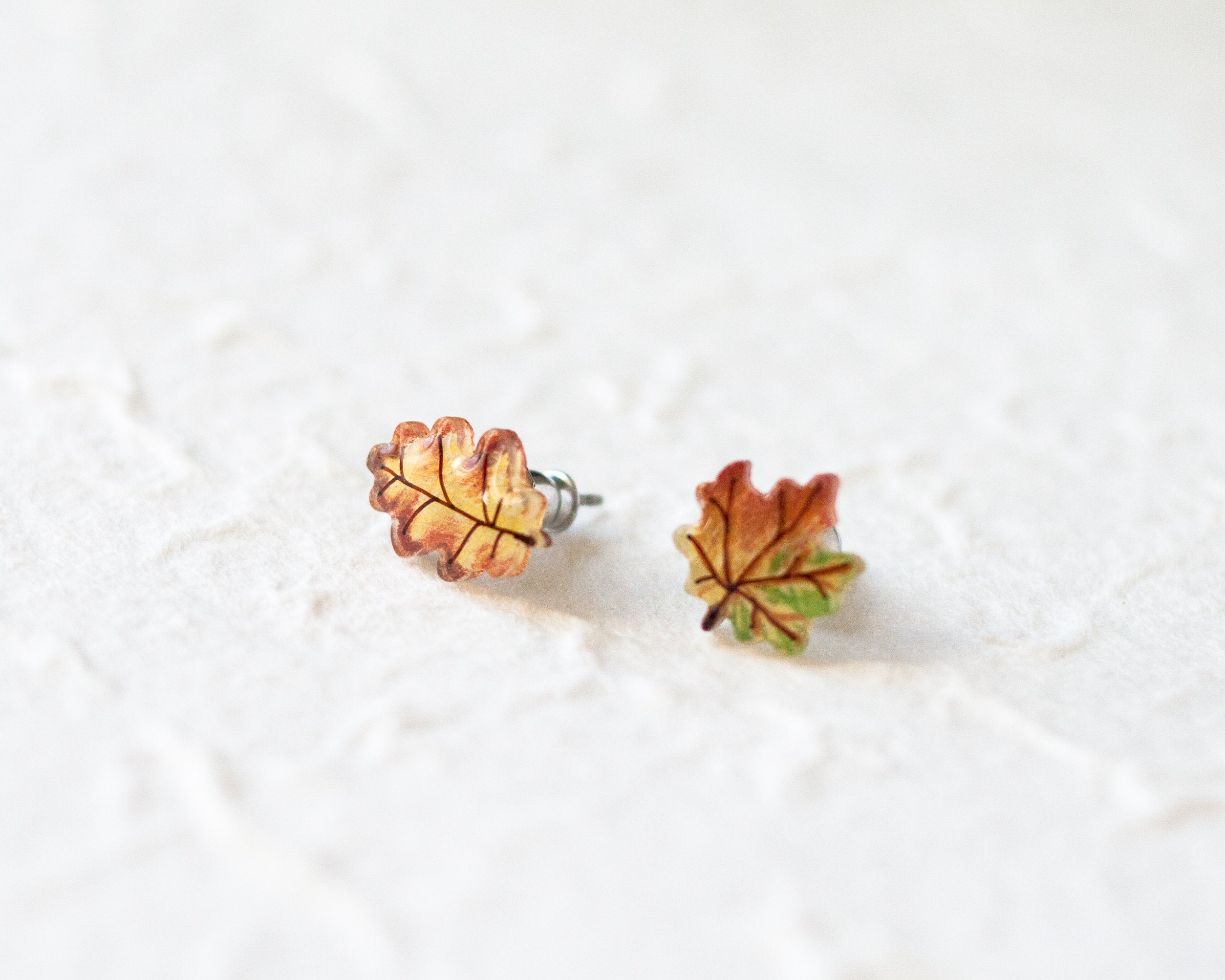 Tiny Maple and Oak Leaf Studs