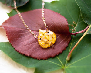 Autumn Yellow Aspen Leaf Pendant Necklace