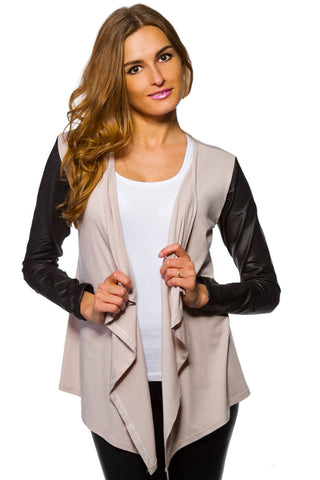 Women's Waterfall Cardigan Jacket Style Eco Leather Sleeve Trendy 6/8/10/12 S-XL