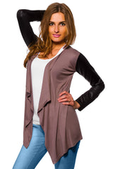 Women's Waterfall Cardigan Jacket Style Eco Leather Sleeve Trendy 6/8/10/12 S-XL - Juicy Peach Fashion Maternity clothes - 4
