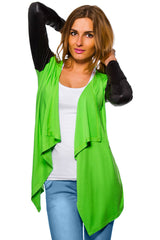 Women's Waterfall Cardigan Jacket Style Eco Leather Sleeve Trendy 6/8/10/12 S-XL - Juicy Peach Fashion Maternity clothes - 8