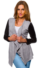 Women's Waterfall Cardigan Jacket Style Eco Leather Sleeve Trendy 6/8/10/12 S-XL - Juicy Peach Fashion Maternity clothes - 6
