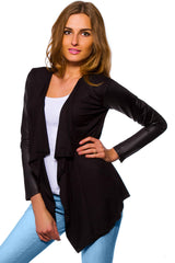 Women's Waterfall Cardigan Jacket Style Eco Leather Sleeve Trendy 6/8/10/12 S-XL - Juicy Peach Fashion Maternity clothes - 2