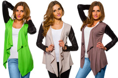Women's Waterfall Cardigan Jacket Style Eco Leather Sleeve Trendy 6/8/10/12 S-XL - Juicy Peach Fashion Maternity clothes - 12