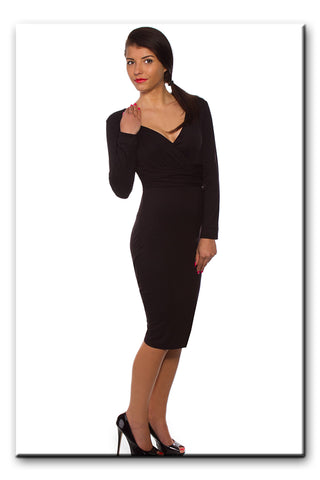 Women's Sexy V Neck Knee Length Dress Cross Over Wrap Trendy Size S|M|L|XL