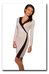 Women's Sexy Wrap Dress V Neck Cross Over Trendy AW14 S|M|L|XL 8-14 - Juicy Peach Fashion Maternity clothes - 1