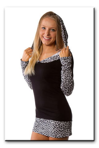 Women's Sexy Long Tunic Top Mini Dress Hoodie Jumper Top Animal Print