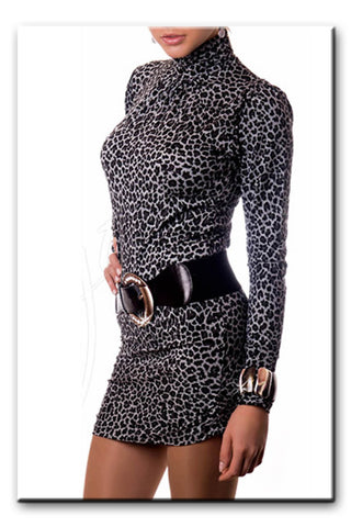 Women's Sexy Long Sleeved Tunic Top Polo Neck Turtle Neck Animal Print