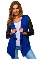 Women's Waterfall Cardigan Jacket Style Eco Leather Sleeve Trendy 6/8/10/12 S-XL - Juicy Peach Fashion Maternity clothes - 3