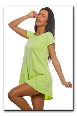 Women's Asymmetric Hem Stretch Summer Holiday Tunic Top T shirt