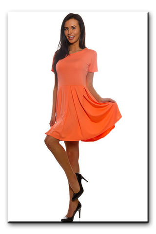 Plain Floaty Swing Flared Summer Holiday Dress