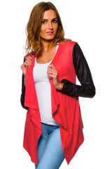 Women's Waterfall Cardigan Jacket Style Eco Leather Sleeve Trendy 6/8/10/12 S-XL - Juicy Peach Fashion Maternity clothes - 5