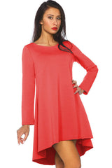 Women's Tunic Swing Hi Low Dress Long Trendy Stylish Sexy SML 8 - 12 - Juicy Peach Fashion Maternity clothes - 2