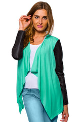 Women's Waterfall Cardigan Jacket Style Eco Leather Sleeve Trendy 6/8/10/12 S-XL - Juicy Peach Fashion Maternity clothes - 9