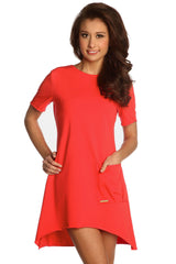 Womens Tunic Hi Low Dress Long Top Trendy Stylish Summer Holiday SML 8 - 12 - Juicy Peach Fashion Maternity clothes - 1