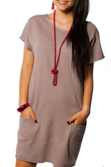Sexy Ladies Tunic Top Short Dress Long Pockets Trendy Casual Baggy - Juicy Peach Fashion Maternity clothes - 4