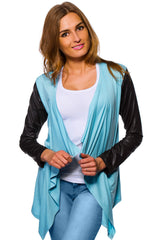 Women's Waterfall Cardigan Jacket Style Eco Leather Sleeve Trendy 6/8/10/12 S-XL - Juicy Peach Fashion Maternity clothes - 7