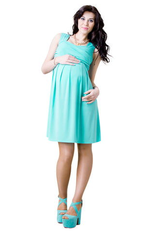 Maternity Dress Pregnancy Stretch Dress Pleated Cross Over