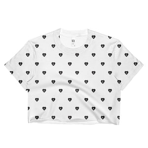 """ALL OVER M. HEART"" SUBLIMATED CROPPED TEE"