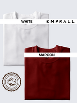 Fusion Combo: Idealist White & Fine Wine Maroon T-shirt (Pack of 2)