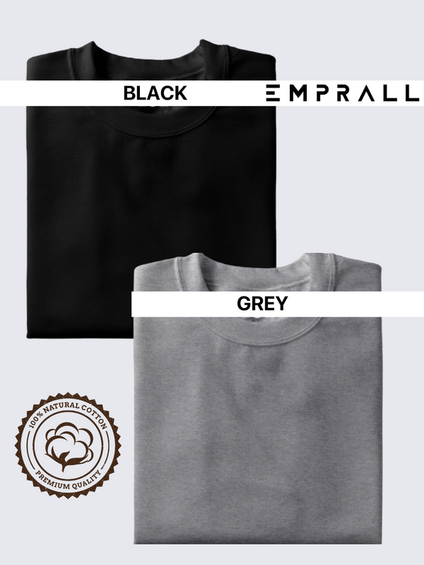 Fusion Combo: Midnight Black & Grey Area T-shirt (Pack of 2)