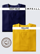Fusion Combo: Elemental Lake Blue & Eccentric Yellow T-shirt (Pack of 2)