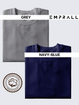 Fusion Combo:  Elemental Lake Blue & Gray Area T-shirt (Pack of 2)