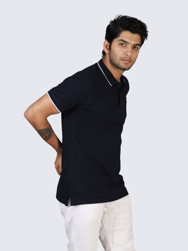 Navy-Blue Polo T-shirt Tipping