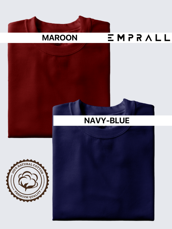 Fusion Combo: Fine Wine Maroon & Elemental Lake Blue T-shirt (Pack of 2)
