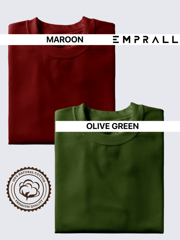 Fusion Combo: Fine Wine Maroon & Fossil Olive Green T-shirt (Pack of 2)