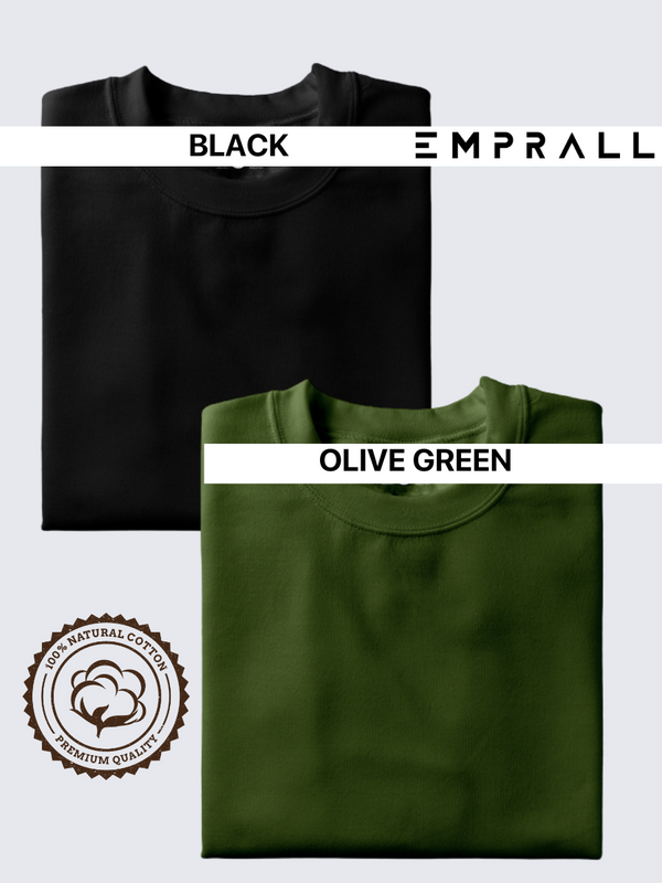 Fusion Combo: Midnight Black & Fossil Olive Green T-shirt (Pack of 2)
