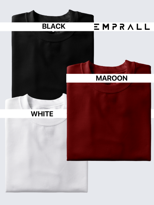 Fusion Combo: Midnight Black, Fine Wine Maroon & Idealist White T-shirt (Pack of 3)