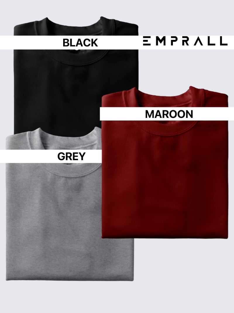 Fusion Combo: Midnight Black, Fine Wine Maroon & Grey Area T-shirt (Pack of 3)