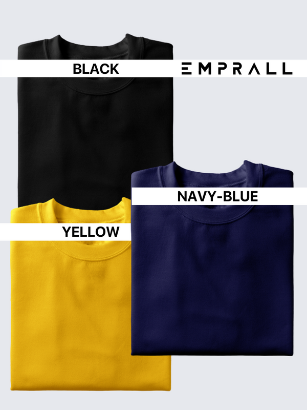 Fusion Combo: Midnight Black, Elemental Lake Blue & Eccentric Yellow T-shirt (Pack of 3)