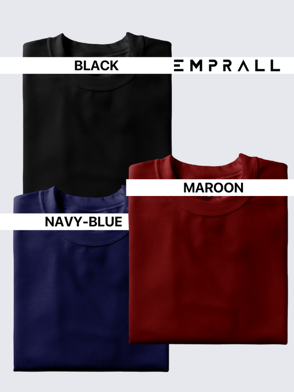 Fusion Combo: Midnight Black, Elemental Lake Blue & Fine Wine Maroon T-shirt (Pack of 3)